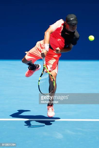 Chun Hsin Tseng of Chinese Taipei serves in his Junior Boys' Singles Final against Sebastian Korda of the United States during the Australian Open...