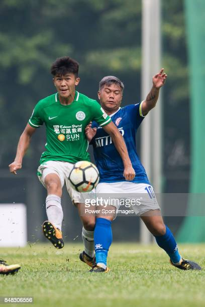 Chun Lok Tan of Wofoo Tai Po fights for the ball with Cheuk Hin Lau of Rangers during the week three Premier League match between BC Rangers and...
