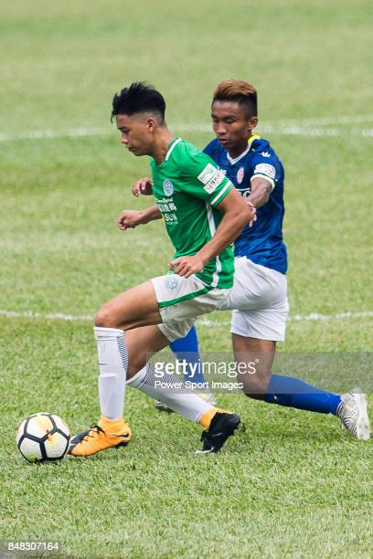 Chun Lok Tan of Wofoo Tai Po in action against Lok Wong of Rangers during the week three Premier League match between BC Rangers and Wofoo Tai Po at...