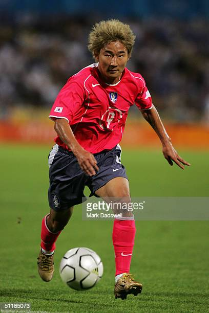 Chun Soo Lee of Korea runs for the ball in the men's football preliminary match between Greece and Korea on August 11 2004 during the Athens 2004...