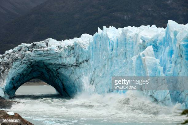 Chuncks of ice come off from the Perito Moreno Glacier, at Los Glaciares National Park, near El Calafate in the Argentine province of Santa Cruz, on...