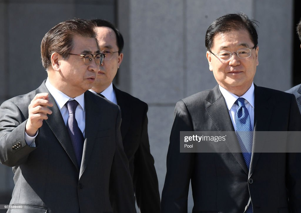Chung Eui-Yong (R), head of the presidential National Security Office, and Suh Hoon (L), the chief of the South's National Intelligence Service, talk before boarding an aircraft as they leave for Pyongyang at a military airport on March 5, 2018 in Seongnam, South Korea. South Korean envoys are to visit North Korea for two days to discuss issues.
