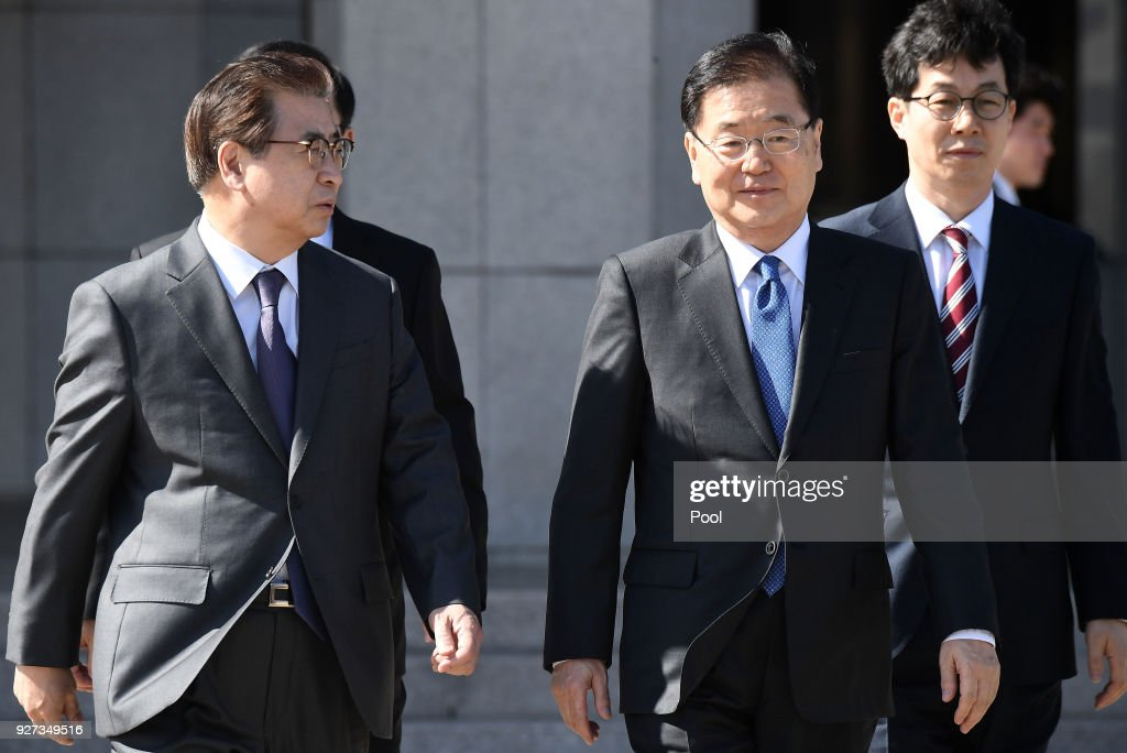 Chung Eui-Yong (2nd R), head of the presidential National Security Office, and Suh Hoon (L), the chief of the South's National Intelligence Service, talk before boarding an aircraft as they leave for Pyongyang at a military airport on March 5, 2018 in Seongnam, South Korea. South Korean envoys are to visit North Korea for two days to discuss issues.