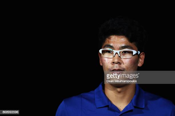Chung Hyeon of South Korea looks on prior to his match against Rafael Nadal of Spain during Day 3 of the Rolex Paris Masters held at the AccorHotels...