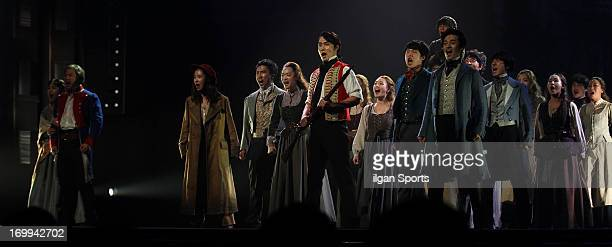 Chung SungHwa and the cast of 'Les Miserables' perform during the 7th musical awards at the National Theater of Korea Main Hall 'Hae' on June 3 2013...