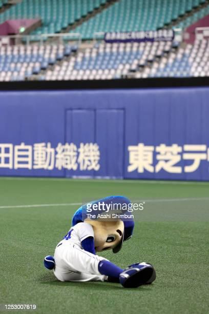Chunichi Dragons mascot Doara falls after failing a backflip after the team's victory in the game between Hiroshima Toyo Carp and Chunichi Dragons at...