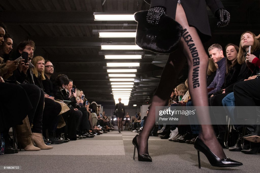 Chunjie Liu, legs detail, walks the runway at Alexander Wang Fashion Show during New York Fashion Week at 4 Times Square on February 10, 2018 in New York City.