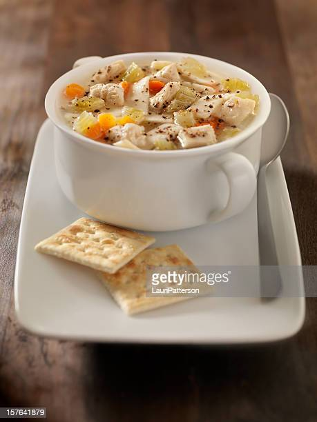 Chunky Chicken Noodle Soup with Saltine Crackers