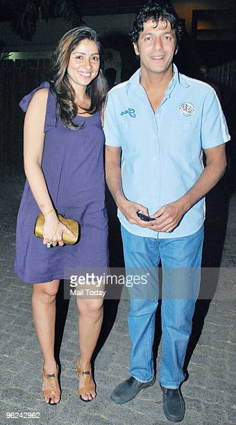 Chunky Pandey with wife Bhavana during Karisma Kapoor's house warming party in Mumbai on January 26 2010