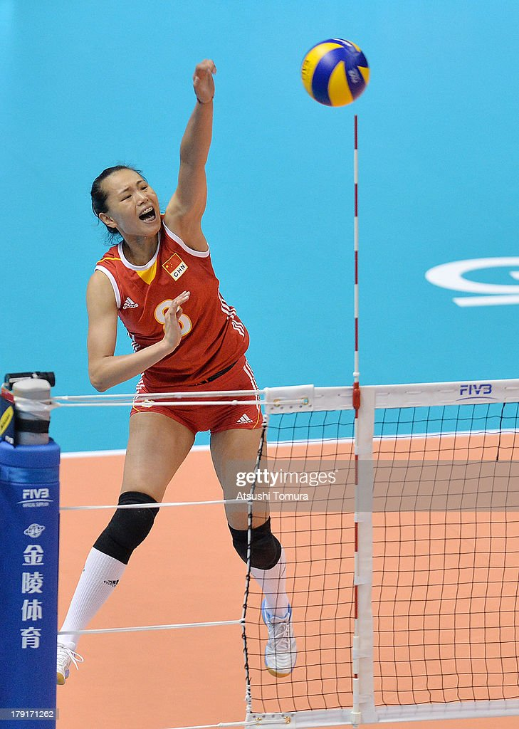 Chunlei Zeng of China spikes the ball during day five of the FIVB World Grand Prix Sapporo 2013 match between China and Brazil at Hokkaido Prefectural Sports Center on September 1, 2013 in Sapporo, Hokkaido, Japan.