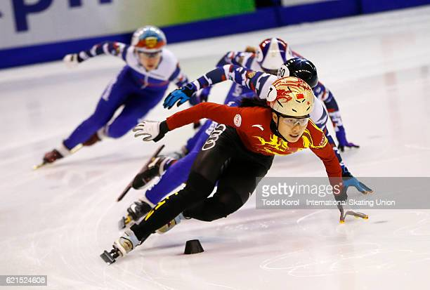 Chunyu Qu of China leads the pack in the women's 500 meter quarter final during the ISU World Cup Short Track Speed Skating event November 6 2016 in...