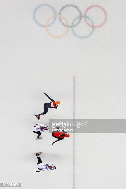 Chunyu Qu of China Minjeong Choi of Korea Sukhee Shim of Korea and Suzanne Schulting of the Netherlands compete during the Short Track Speed Skating...