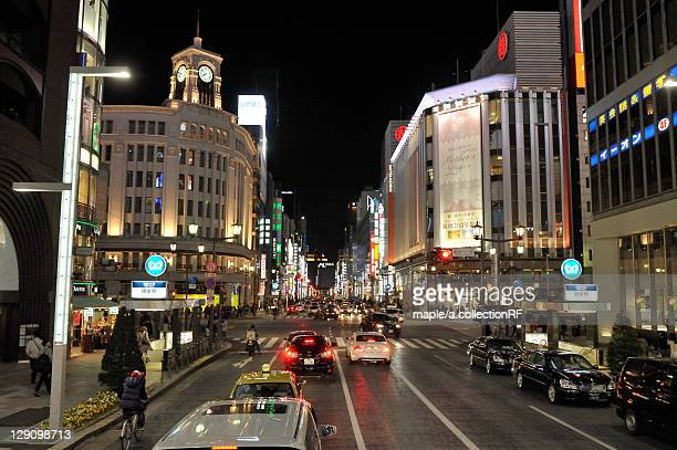 chuo street at night - ginza stock pictures, royalty-free photos & images
