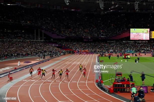 Churandy Martina of Netherlands Ryan Bailey of the United States Usain Bolt of Jamaica Justin Gatlin of the United States Yohan Blake of Jamaica...
