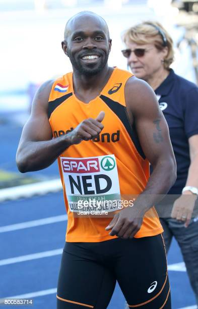 Churandy Martina of The Netherlands competes in the 100m during the 2017 European Athletics Team Championships at Stadium Lille Metropole on June 23...