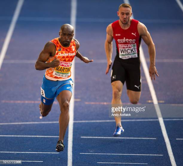 Churandy Martina of the Netherlands competes in the 100m Men's SemiFinal during Day 1 of the 24th European Athletics Championships at Olympiastadion...