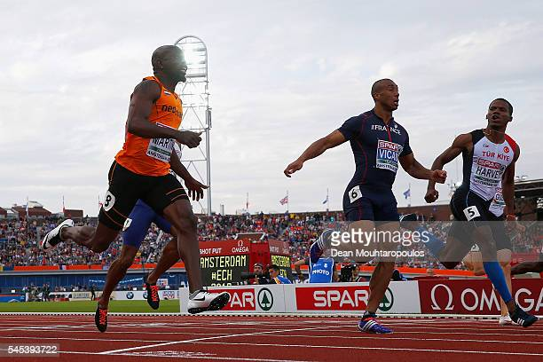 Churandy Martina of The Netherlands crosses the finish line to win the gold medal in the mens 100m on day two of The 23rd European Athletics...