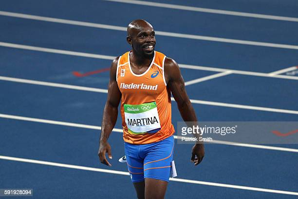 Churandy Martina of the Netherlands looks on after he competes in the Men's 200 metres final on Day 13 of the Rio 2016 Olympic Games at the Olympic...