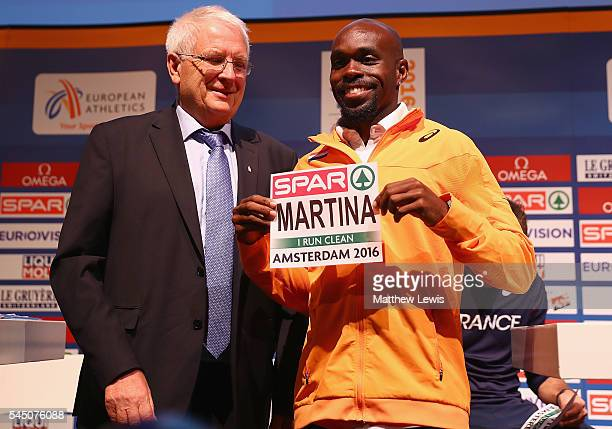 Churandy Martina of the Netherlands pictured with Svein Arne Hanssen during a press conference ahead of the 23rd European Athletics Championships at...
