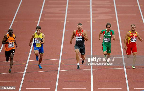 Churandy Martina of the Netherlands Tom KlingBaptiste of Sweden Sven Knipphals of Germany Diogo Antunes of Portugal and Eduard Viles of SpaEduard...