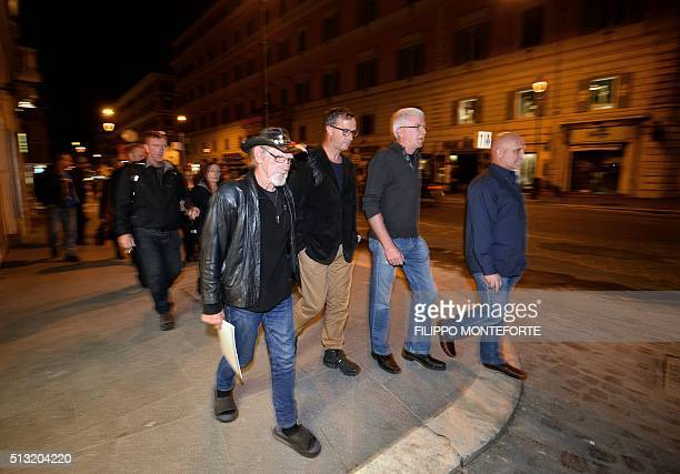 Church abuse victims Gordon Hill David Ridsdale Phil Nagle and Andrew Collins arrive at the Quirinale hotel in Rome on March 1 2016 to witness...