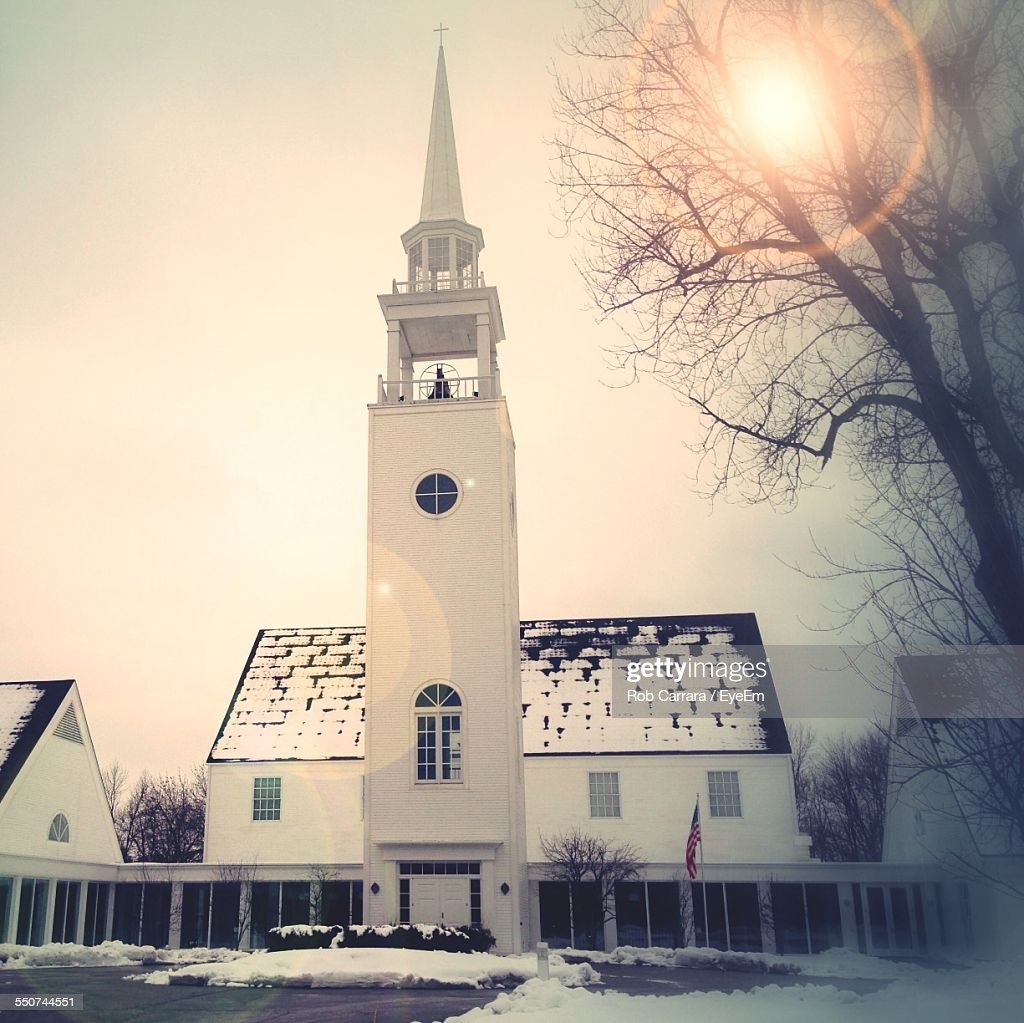 Church Against Clear Sky During Winter : ストックフォト