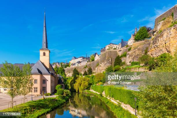 church along alzette river in luxembourg city - old town stock pictures, royalty-free photos & images