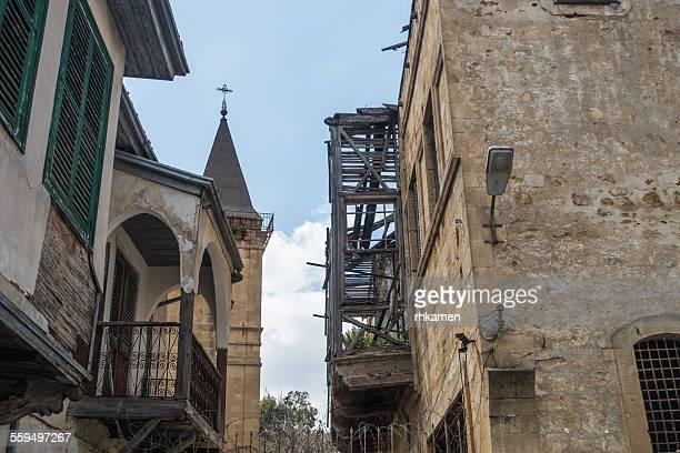 church and building being restored - insel zypern stock-fotos und bilder