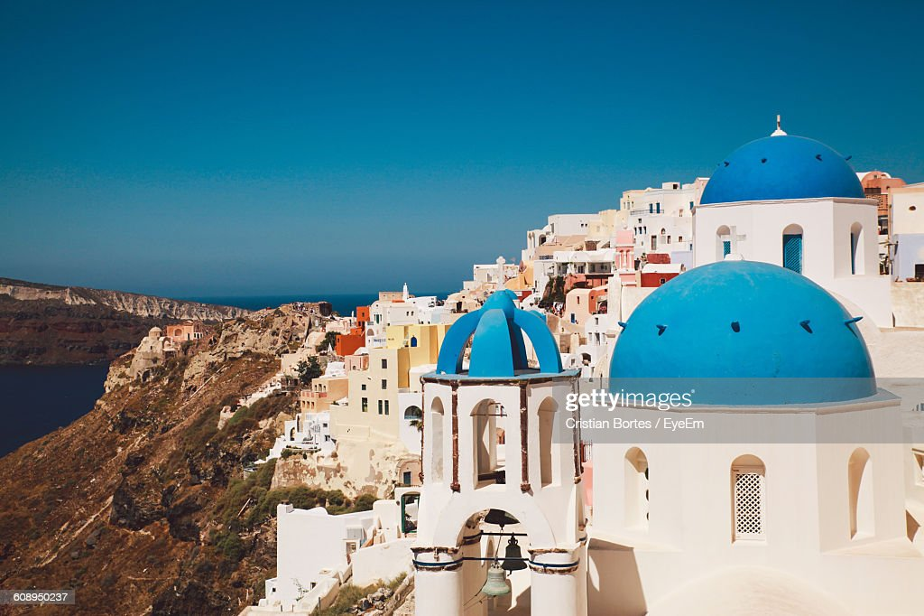 Church And Buildings In City At Santorini : Stock Photo