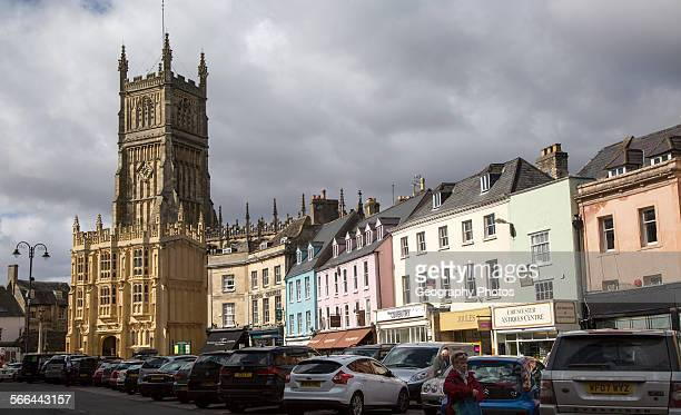 Church and historic buildings in town center Cirencester Gloucestershire England UK