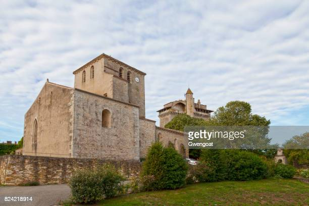 church and medieval keep of bazoges-en-pareds - gwengoat stock pictures, royalty-free photos & images