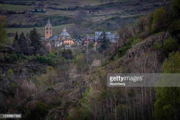 Church and residential buildings on the hillside in Vilac village, Spain, on Tuesday, April 20, 2021. The inquiry into the death of a bear named...
