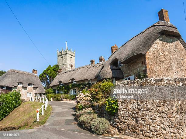 church and thatched cottages in godshill - île de wight photos et images de collection