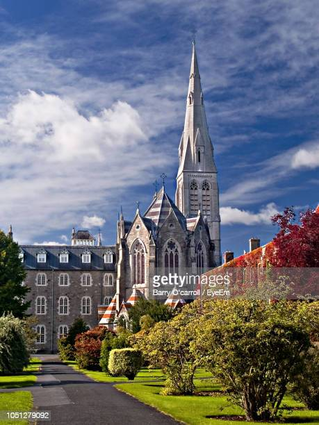 church and trees in city against sky - kildare stock pictures, royalty-free photos & images