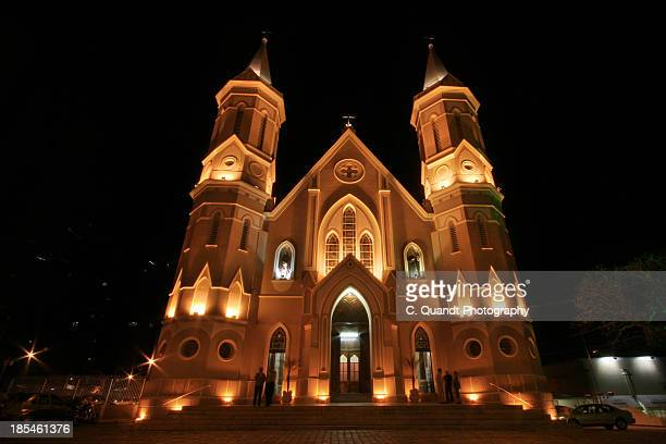 church at night - curitiba stock pictures, royalty-free photos & images