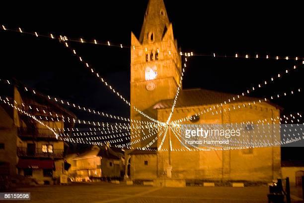 Church at night, southern Alps, France