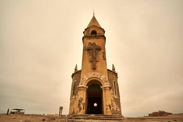 Church at the abandoned village of Ilha dos Tigres, Angola.