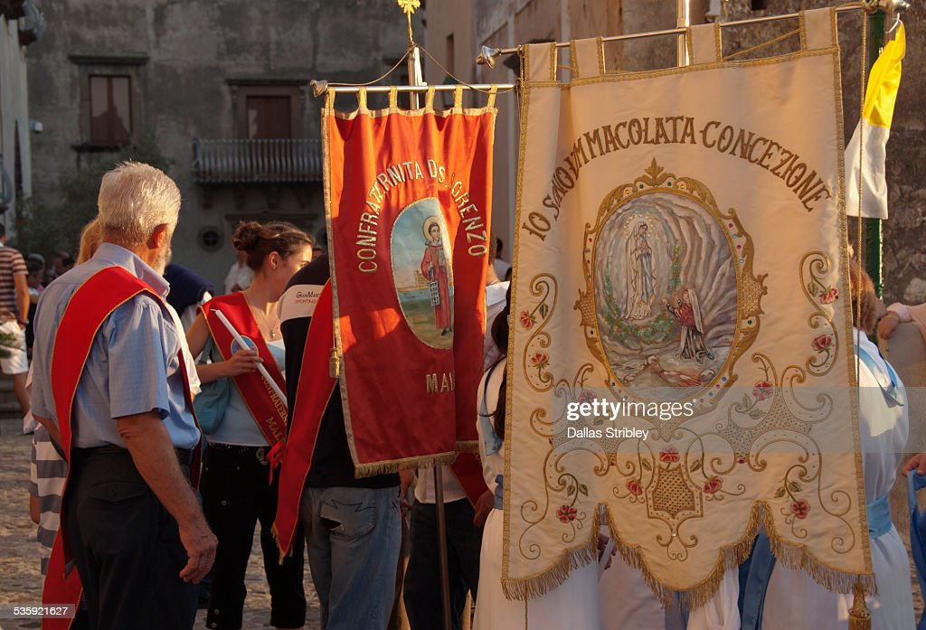 Church banners at the Festival of San Bartolomeo : Stock Photo