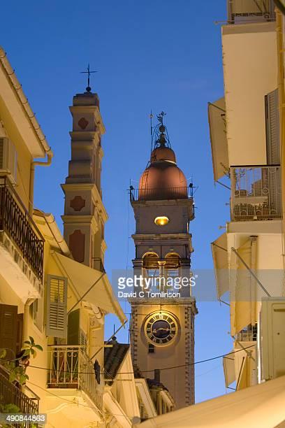 Church bell-tower, dusk, Corfu Town, Corfu, Greece