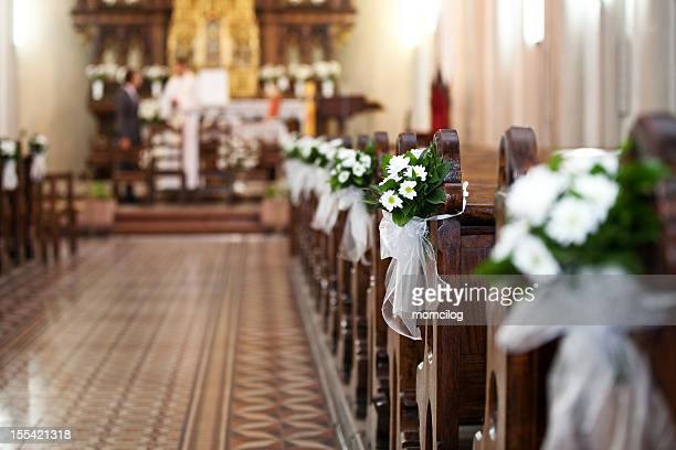 church bouquets - wedding ceremony stock photos and pictures