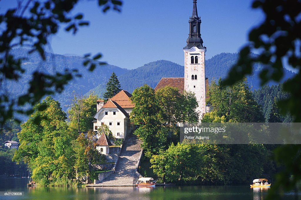 Church by a Lake : Stock Photo