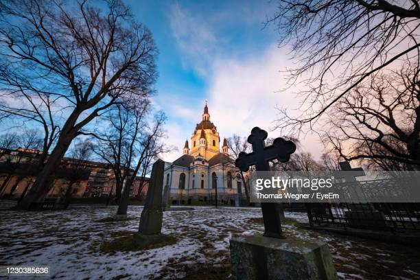 church by building against sky during winter - drottningholm palace stock pictures, royalty-free photos & images