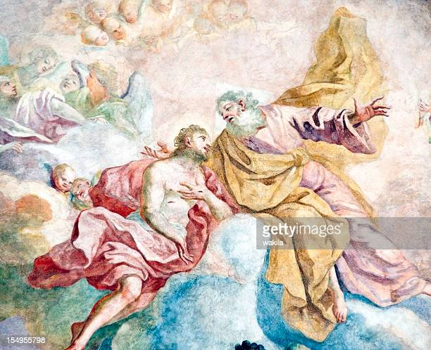church ceiling painting - jesus birth stock pictures, royalty-free photos & images