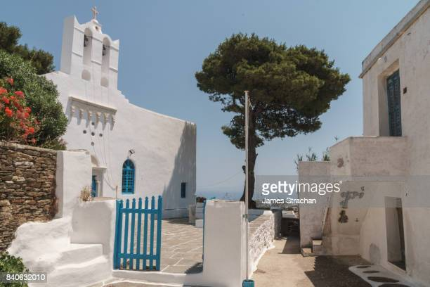 Church courtyard overlooking the sea, Apollonia, capital of Sifnos, Cyclades Islands, Greece