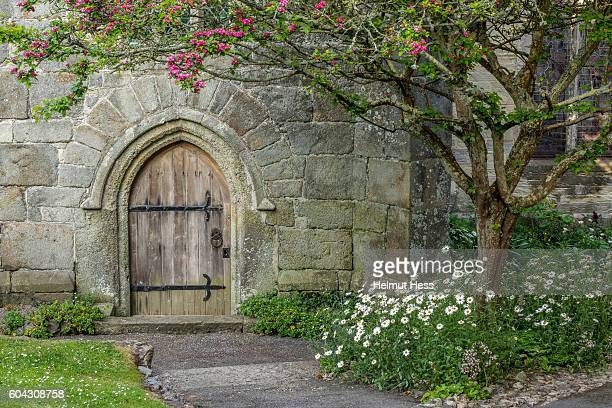 church door in st. agnes - sainte agnès french riviera stock photos and pictures