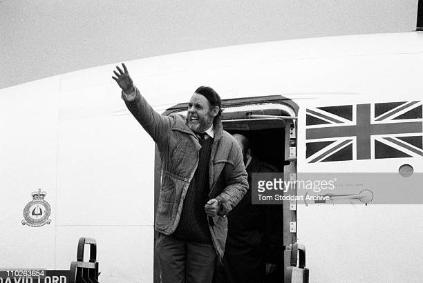 Church envoy Terry Waite photographed on his return to the UK after being held hostage in Beirut, Lebanon for 1760 days.