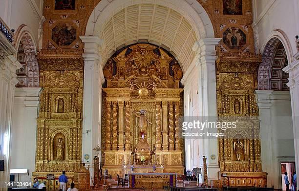 Church From Inside Altar Bom Jesus Basilica Old Goa India