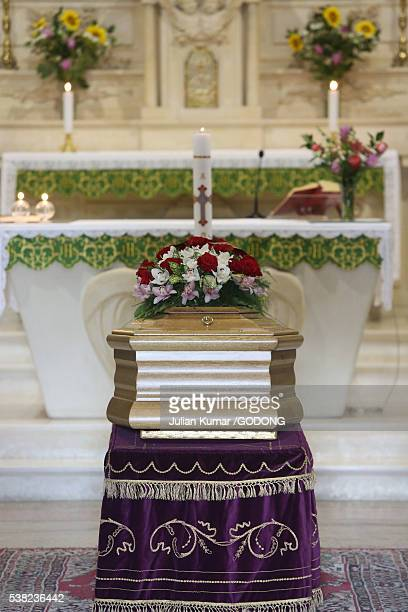 church funeral. - coffin stock pictures, royalty-free photos & images