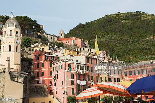 Church in a town, Cinque Terre National Park, Church of Santa Margherita d'Antiochia, Italian Riviera, Piazza Marconi, Vernazza, La Spezia, Liguria, Italy