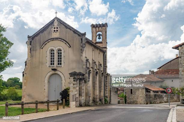 church in a village near angoulême, france - angouleme stock photos and pictures